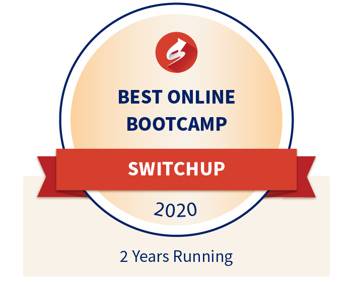 SwitchUp's Best Online Bootcamp Award 2020 Winner - 2 years running